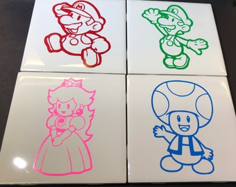 Super Mario Ceramic Drink Coasters