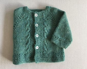 Top 1/3 months, baby, hand knitted pure wool.