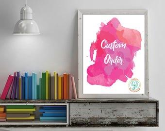 Custom Order, Watercolor Art, Print Watercolor, Wall Art Print, Watercolor Decor, Watercolor Artwork, Custom order art, Happy Cultivated art