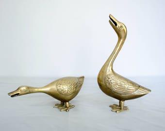 vintage brass geese / pair of brass birds