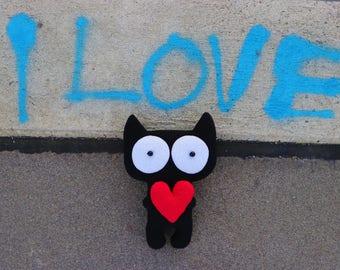 Plush black cat Rag doll stuffed animal Gift for girl toy black