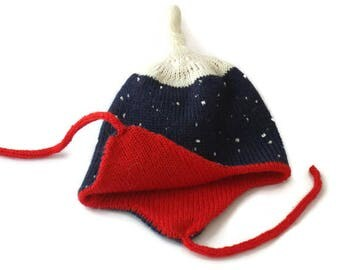 Dark blue hat with ear flaps for baby  LET IT SNOW. Double layer hat for baby. Can be customized.