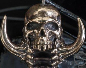 Demon Skull Necklace | Skull Pendant | Large necklace | Men's necklace | Skull Necklace | Bronze Necklace | Bronze pendant | Gothic Necklace