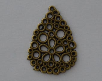 6 pendants Teardrop openwork 28x20mm antique bronze - Ref: PB 641