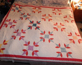 Vintage Quilt with Red Flowers