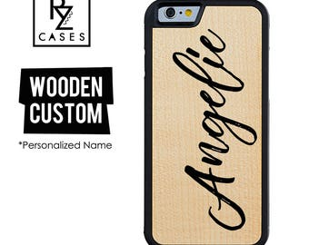 Wooden Phone Case, Custom Phone Case, Wooden Personalized Case, iPhone 7, iphone 6, Personalized Gift for Her, Wooden Custom Name, iPhone 6s