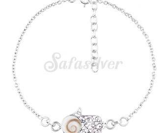 Small Hamsa Bracelet With Shiva Eye Shell Gemstone