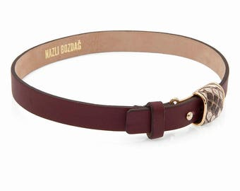 Burgundy Leather Choker With Phyton Accessory