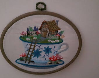 Embroidered Fairy Garden in a Teacup Hoop