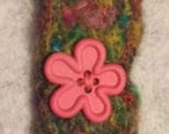 Handmade needle felted bracelet with pink button flower