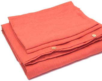 100% Linen Bed Set Coral EU King Size 240cm x 220cm, Stonewashed,Soft Linen Bed Set, More Colours Available, Linen Bedding,