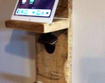 Multi purpose reclaimed wood bottle opener,key rack and single shelf mobile/tablet holder
