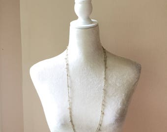Pink crystal long layered necklace