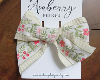 Floral Jacquard Creme Pink Ruffle Bow Clip or Headband