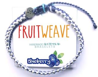 BLUEBERRY CHIC BRACELET, Guatemalan Bracelets, Handmade bracelets, colorful bracelets, fruit based, fruit weave, friendship bracelets.