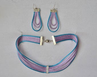 Purple and blue Choker necklace