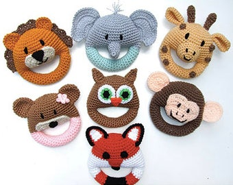 SALE- By 1 get the 2nd 50% off - Crochet soft baby rings, animals, cute, soft, safe