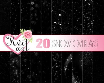 Snowfall Overlay Set. 20 PNG files. Instant Download. Snow Sparkle Confetti Clipart. Snowflakes DIY Photo Decoration Transparent Backgrounds
