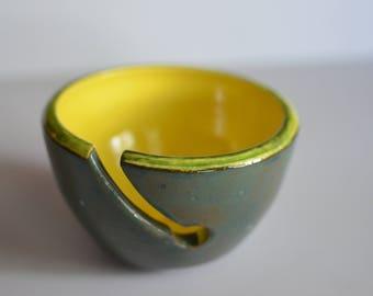 Kiwi Yarn Bowl, Hand made, Wheel thrown pottery, Ceramic