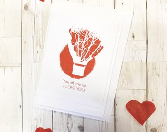Hot Air Balloon Quirky Valentines Day I Love You Red Greetings Card