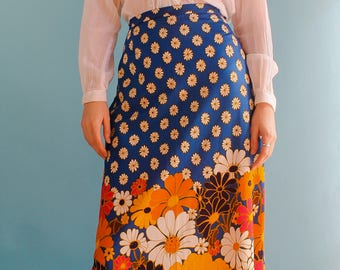 Vintage 1970s floral maxi skirt hippie boho pattern