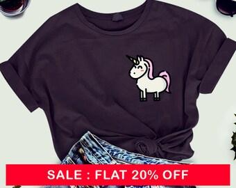 Unicorn Gift Unicorn Adult ladies shirt Pocket Badge Shirt T-shirt Tee Mens Womens Ladies Girlfriend Wife Friend Cool Stars Magic Pony Girly
