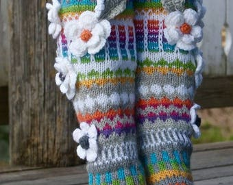 Over The Knee Socks,Thigh High Socks,Hand knit knee socks, flower knee socks, Flower socks,rainbow socks,woman leg warmers, Hand knit socks