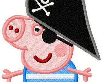 Peppa Pig pirate embroidery design