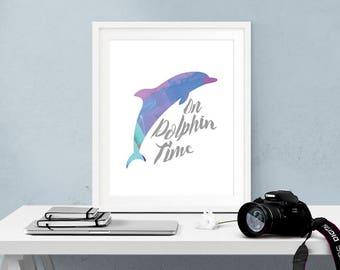 watercolor dolphin wall art, tropical wall art, kids bathroom wall decor, tropical baby shower decorations, tween girl gifts, teen girl room