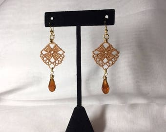 Brown Lace Teardrop Earrings