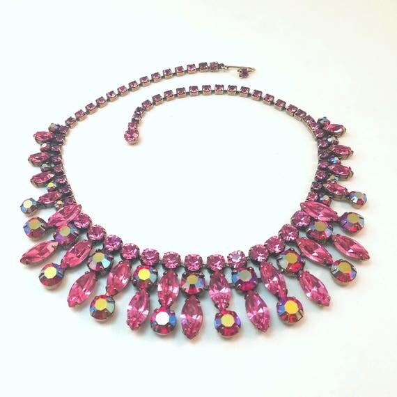 Vintage Regency Magenta and Pink Rhinestone Necklace