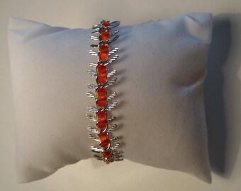 Silver orange fishbonne bracelet