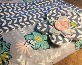 Striped Floral Baby Quilt