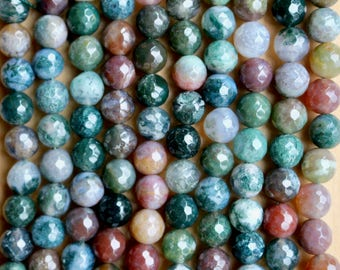 8mm Faceted Indian Agate beads, full strand, natural stone beads, round, 80042