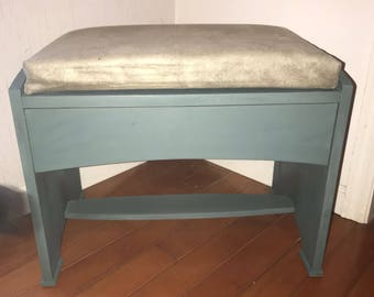 Bench with drawer and removable suede cushion top