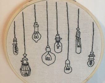 Vintage Lightbulbs Hanging Together, Hoop Embroidery