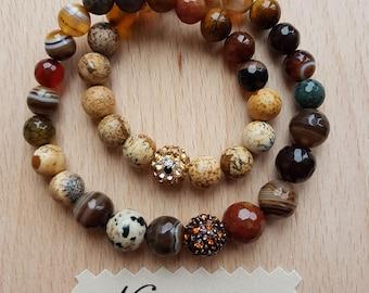 Bracelet for harmony. Semi- precious double bracelet- agate, jasper, tiger eye, dalmatian jasper, Shamballa bead