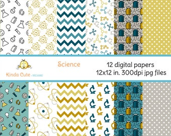 Science digital papers. 12 digital papers for scrapbooking. 12x12 digital papers. Laboratory, molecules, dots and chevron digital papers.