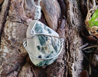 Sale ~ Tree agate wire wrapped necklace