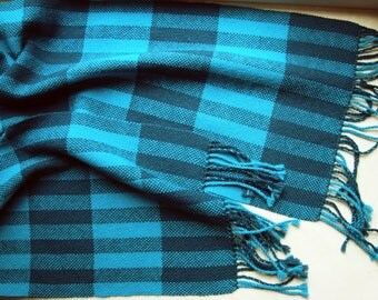 Hand woven stripped womens scarf with fringes Handwoven men women stripped scarf Warm wool acrylic handmade scarf  Winter blue woven scarf