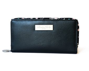 Large continental leather purse with RFID protection