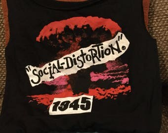 Tote bag made from a  Repurposed Social Distortion tee