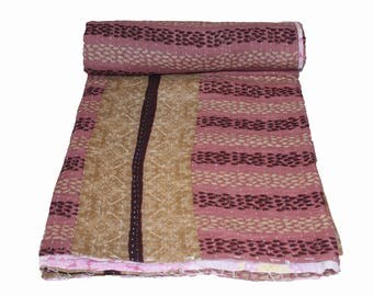 Cotton Striped Handmade Reversible Vintage Sari Kantha Quilt Twin Old Cotton Kantha Bedspread Kantha Gudri Cotton Blanket 147
