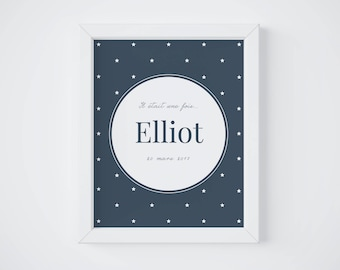 Personalized Birth Poster, Decor, Kid's Room, Baby, Birth Stats