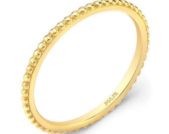 Stackable, 14k Yellow Gold, Beaded Band