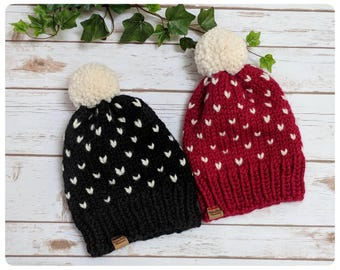 Made to Order - Hand Knitted/Chunky Knit, Fair Isle Beanie, Pom-Pom Hat, Winter Accessories/Color of your choice/All Sizes