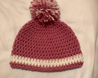 Toddler crochet hat - pink and cream with pom-pom