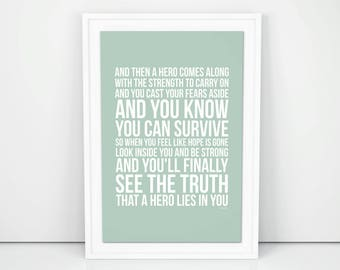 Mariah Carey Hero Lyrics Poster Print Wall Artwork Memorabilia