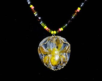 Marigold spider pendant beaded necklace