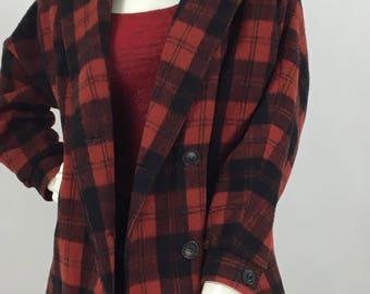 80s red and black tartan plaid jacket/1980s red black tartan wool jacket